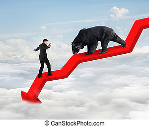 Businessman against bear on arrow downward trend line with...