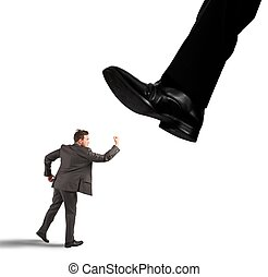 Businessman against boss - Angry businessman struggle...
