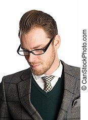 Businessman against white backgroun
