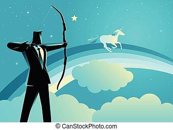 Businessman aiming a unicorn