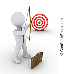 Businessman aiming at a target - 3d businessman as an archer...