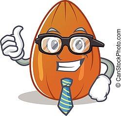 Businessman almond nut character cartoon