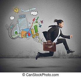Businessman always traveling