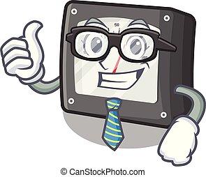 Businessman ampere meter in the cartoon shape vector illustration