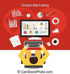 Businessman analysing graphs concept illustration. Global...