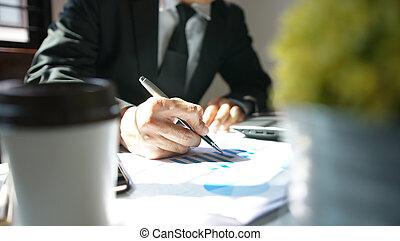 Businessman analysis stock exchange market