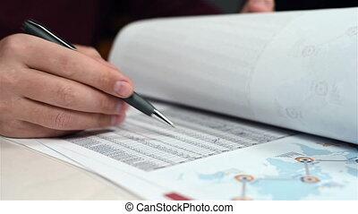 Businessman Analyzing Budget - Expressive Trader Monitors...