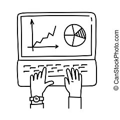 Businessman analyzing graph, working on Laptop, vector illustration