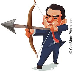 Businessman and arrow, Business concept, Vector illustration