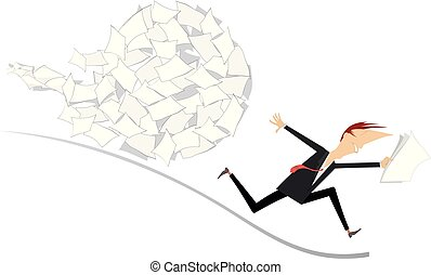 Businessman and big ball of documents concept illustration