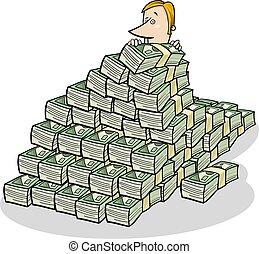businessman and big pile of money concept cartoon