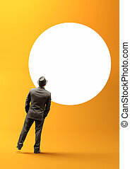 Businessman and Blank Circle