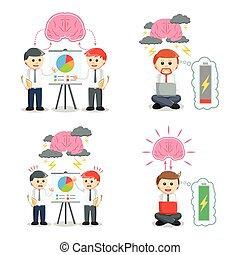 businessman and brain set