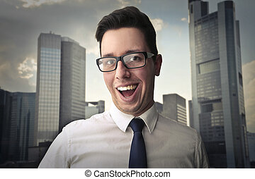 Businessman and building