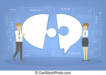 Businessman and business woman holding speech bubble