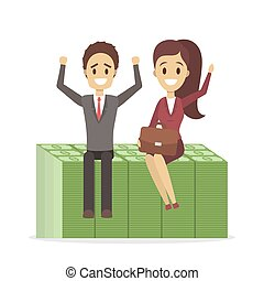 Businessman and business woman sitting on a pile of banknotes