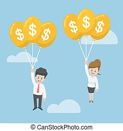 Businessman and Businesswoman Flying with Dollar Balloon