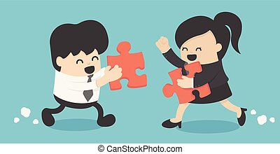 Businessman and Businesswoman folded puzzle. The symbol of a successful collaboration. Vector illustration.