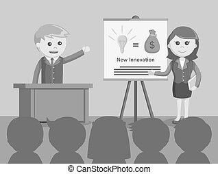 businessman and businesswoman giving presentation