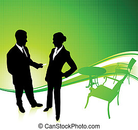 businessman and businesswoman Green Environmental Conservation B