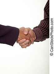 Businessman and businesswoman hands in handshake agreement