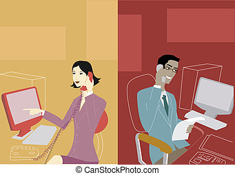 Businessman and businesswoman having a telephone...