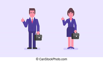 Businessman and businesswoman holds suitcase showing thumbs...