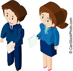 Businessman and businesswoman in 3D design