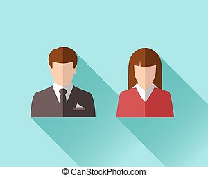 Businessman and businesswoman in flat design