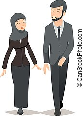 Businessman and businesswoman in traditional Muslim hijab. Business team vector concept