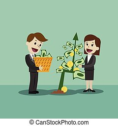 Businessman and businesswoman looking for growth chart,money and pointing finger to raise the graph get a lot of money. Chart growth and success concept. Cartoon Vector Illustration.