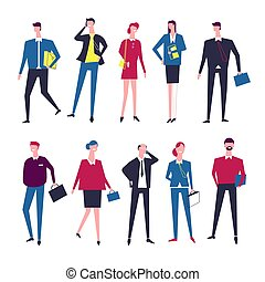 Businessman and businesswoman managers vector cartoon icons