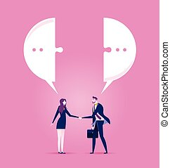 Businessman and businesswoman meeting with a handshake and talking with speech bubble - Business concept vector