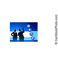 Businessman and Businesswoman on Blue Background