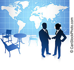 businessman and businesswoman on internet background with world