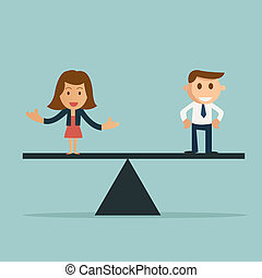 Businessman and businesswoman on the scale. Manpower concept choosing the perfect candidate for the job