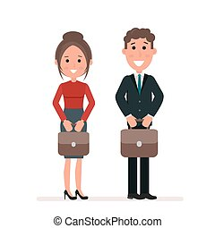 Businessman and businesswoman or managers are standing with suitcases in their hands. Office workers. Flat character isolated on white background. Vector, illustration EPS10.