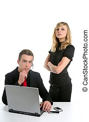 businessman and businesswoman over white - Portrait of...