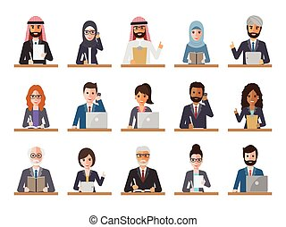 Businessman and businesswoman people in actions