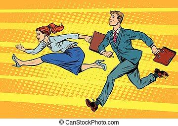 Businessman and businesswoman running competition pop art...