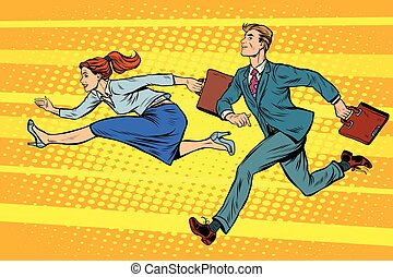Businessman and businesswoman running competition pop art...