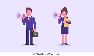 Businessman and businesswoman speak in megaphone. Alpha...