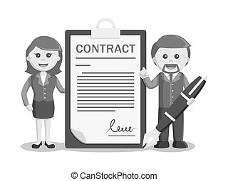 businessman and businesswoman with contact paper