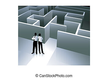 Businessman and Businesswoman with Maze
