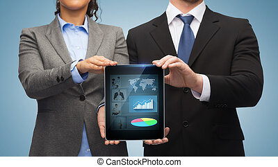 businessman and businesswoman with tablet pc