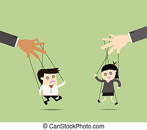 Businessman and Businesswomen puppet on ropes. Business manipulate behind the scene concept