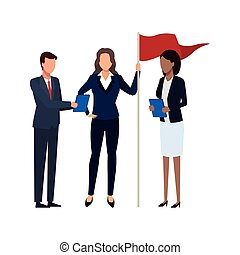 businessman and businesswomen with flag standing icon