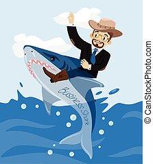 Businessman and bussiness shark