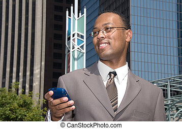 Businessman and cell phone