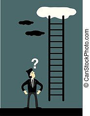 Businessman and Corporate Ladder Going Up the Sky - Cartoon ...